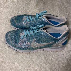 Sparkly glitter blue nike sneakers 11